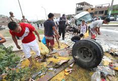Callao: no respetaron la muerte y vecinos saquearon camión que se despistó en Mi Perú | FOTOS