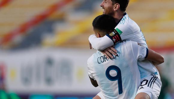 Con gol de Ángel Correa, Argentina venció de manera agónica por 2-1 a Bolivia en La Paz por la segunda jornada de las Eliminatorias Qatar 2022. (Foto: AFP)