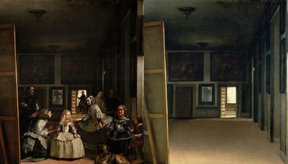 """Las """"Meninas"""", de Velázquez y versión despoblada del artista madrileño. Como si todos estuvieran en cuarentena por el coronavirus."""