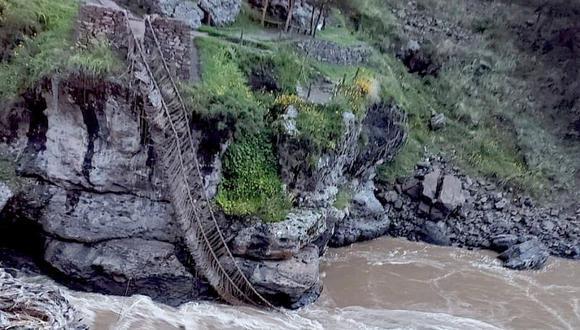 La falta de mantenimiento ocasionó que el puente colgante inca colapse. (Foto Facebook/Perú Inka)