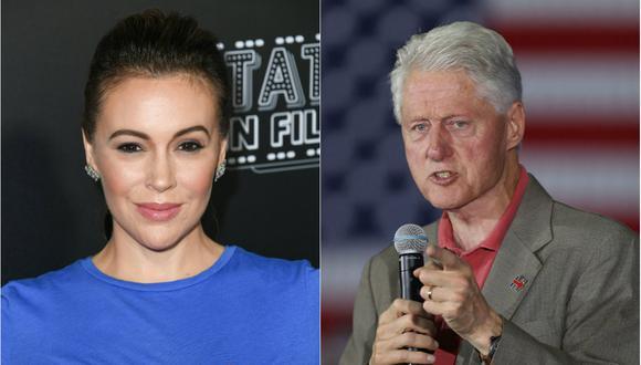 Alyssa Milano y Bill Clinton (Foto: Agencias)