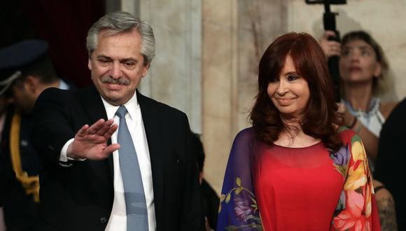 El presidente de Argentina Alberto Fernández junto a su vicepresidenta Cristina Kirchner. (AFP / AFP PHOTO / ALEJANDRO PAGNI).