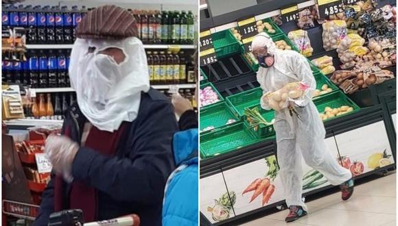 Los usuarios de Internet aprovecharon la situación para burlarse de quienes elaboran sus propios 'trajes de cuarentena' en casa. (Fotos: Twitter)