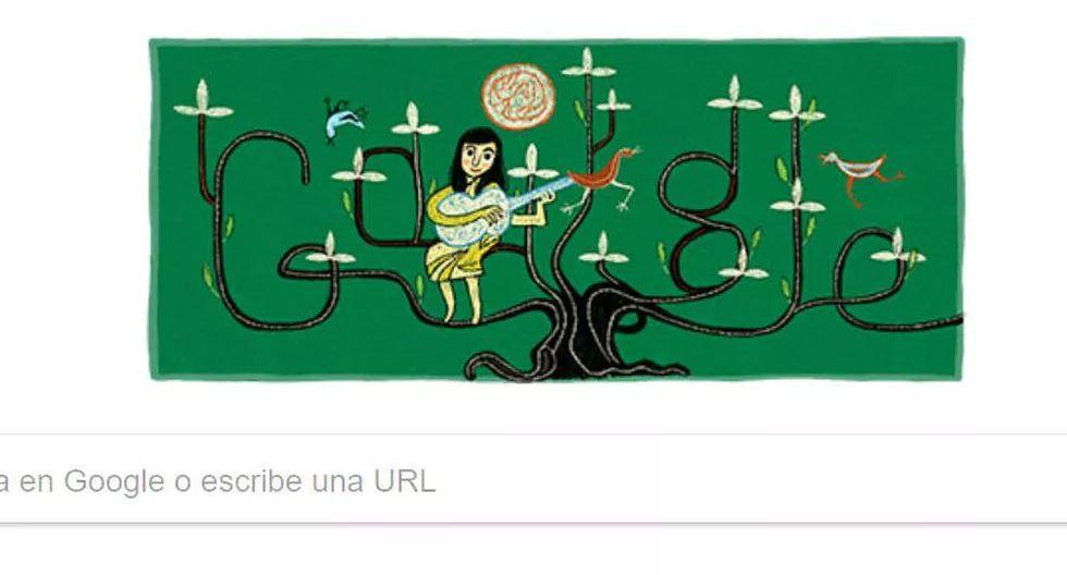 En tributo a la celebración del 100 aniversario de su nacimiento, Google le dedicó su doodle del 4 de octubre de 2017 a la artista chilena Violeta Parra, cantautora y folclorista. (Captura de pantalla)