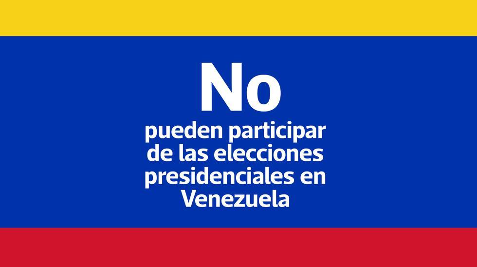 Los siguientes opositores no pueden participar en las elecciones presidenciales de Venezuela.
