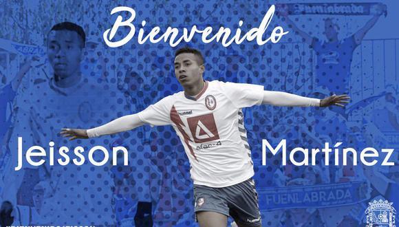 Jeisson Martínez anunciado como nuevo futbolistas del Fuenlabrada. (Foto: Agencias)