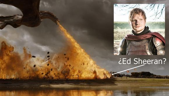 """""""Game of Thrones"""". Ed Sheeran participó en la serie como un soldado en el primer episodio. Su bando fue atacado por un dragón el domingo último. (Imágenes: HBO)"""