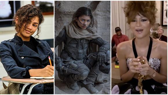 """De izquierda a derecha, Zendaya en """"Spiderman: Homecoming"""" (2017), """"Dune"""" (2020) y al recibir el Emmy 2020 a Mejor actriz en serie de drama. Fotos: Sony Pictures/ Warner Bros./ Emmy."""