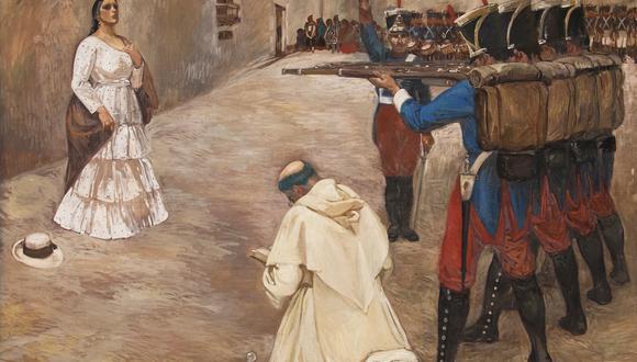 """""""Fusilamiento de María Parado de Bellido"""", de Consuelo Cisneros (1929). Óleo sobre lienzo. Ministerio de Cultura - Museo Nacional de Arqueología, Antropología e Historia del Perú."""
