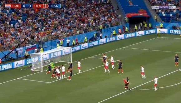 Croacia vs. Dinamarca: Jorgensen marcó el 1-0 a los segundos del duelo. (Foto: Captura de pantalla)