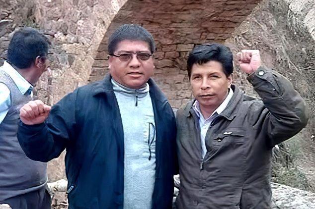 César Tito Rojas y Pedro Castillo en una de las reuniones de la Fenate Perú y Conare, gremio relacionado al Movadef.