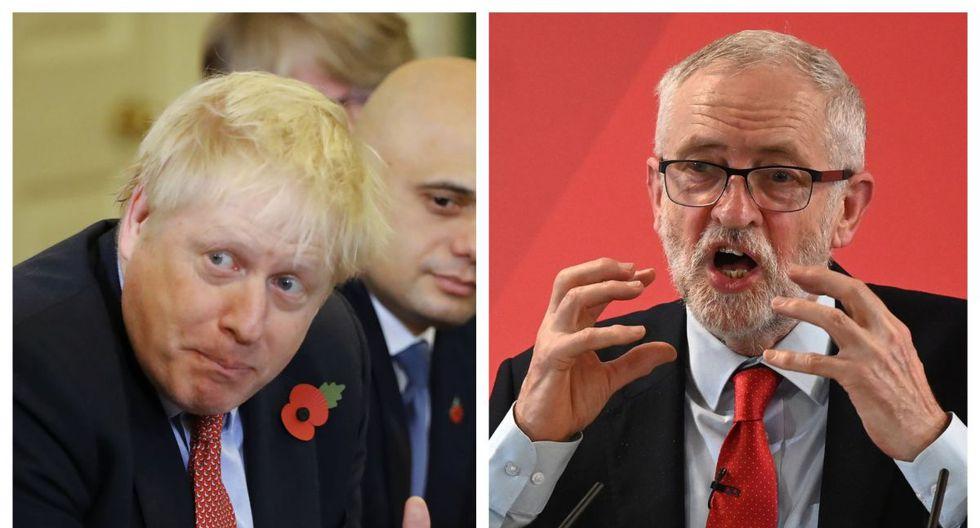 El primer ministro Boris Johnson, a la izquierda, comparó el miércoles al líder de la oposición británica, y su principal rival en las legislativas,  Jeremy Corbyn, con el dictador soviético Josef Stalin. (Fotos: AFP)