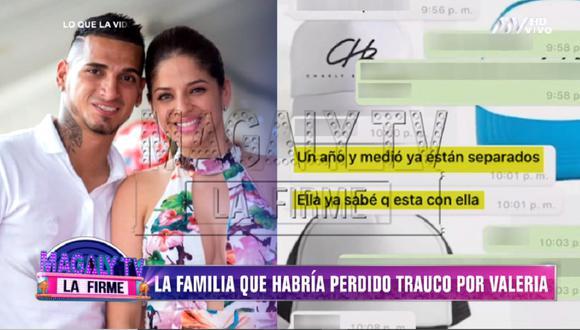 Miguel Trauco y Valeria Roggero tienen una relación sentimental, según confirmó la madre del futbolista. (Foto: Captura Magaly TV: La Firme)