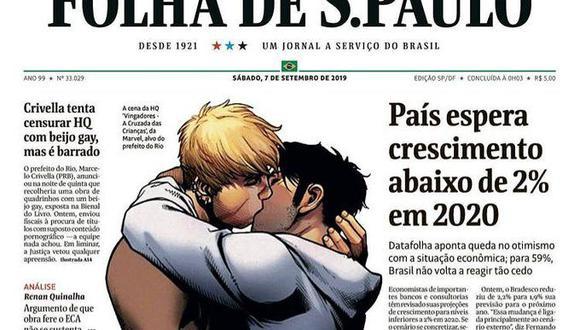 Brasil: Folha de S. Paulo publica en su portada el cómic de un beso hay censurado por el alcalde de Río de Janeiro Marcelo Crivella.