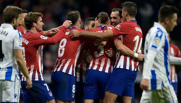 Atlético de Madrid superó 2-0 a Real Sociedad con goles de Godín y Filipe Luis por la Liga española | VIDEO. (Foto: AFP)