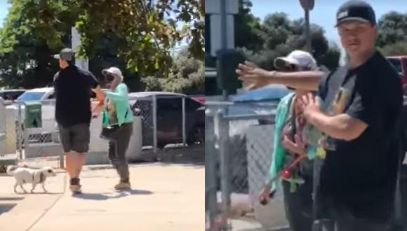 Así fue el ataque contra la pareja de esposos que merendaba en un parque para perros de San Diego, California. (Foto: capturas del video de Facebook)