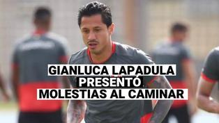 Gianluca Lapadula, fue visto con molestias al caminar después del partido con Colombia