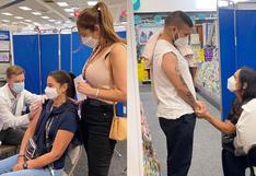 Karen Schwarz y Ezio Oliva se vacunaron en Estados Unidos contra el COVID-19