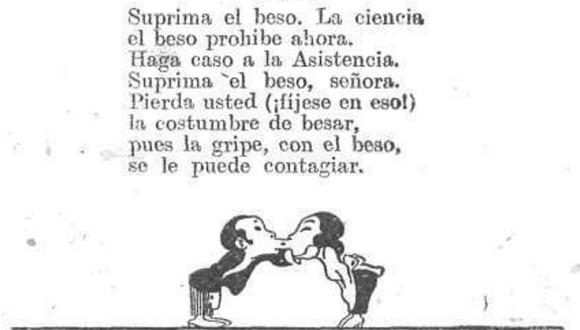 """El humor en tiempos de pandemia. Texto humorístico ilustrado que busca evitar el beso para prevenir el contagio de la gripe, publicado en la revista Caras y Caretas N.° 1085, p. 3. Fecha de publicación: 1919-07-19. Imagen tomada de """"Comentarios"""", Archivo Covid-19 Perú, http://sisbib.unmsm.edu.pe/archivocovid19peru/imagenes/imagenes_info.php?id=29"""