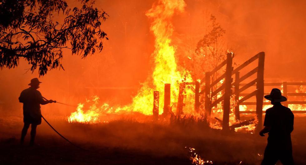 Residentes defienden una propiedad de un incendio forestal en Hillsville, cerca de Taree, a 350 km al norte de Sídney.