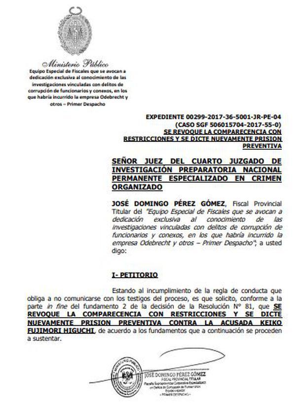 Pedido del fiscal José Domingo Pérez