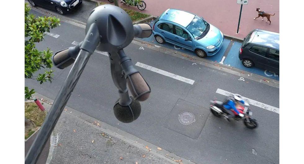 Uno de los micrófonos instalados para medir la contaminación sonora en París. (Foto: Bruitparif)