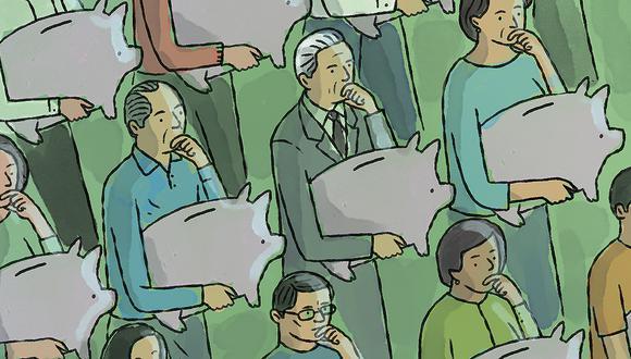 """""""El esquema adoptado en 1936 consistió en crear una Caja Nacional del Seguro Social administrada por el Gobierno, que captaría los aportes entregados mensualmente por empresarios y trabajadores del sector privado en un fondo común"""". (Ilustración: Víctor Aguilar Rúa)."""