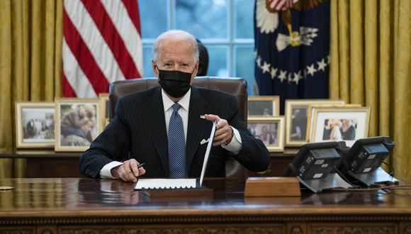 Hoy, el presidente de Estados Unidos, Joe Biden, en la Oficina Oval de la Casa Blanca. AP