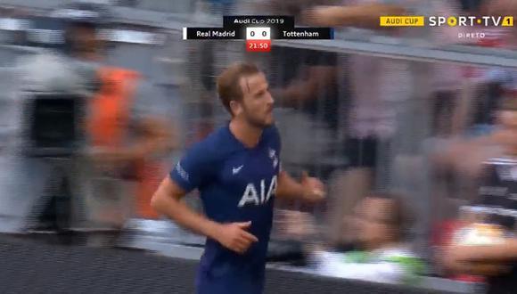 Harry Kane marcó el primer gol del partido para Tottenham tras un grave error en el bloque defensivo de Real Madrid. (Foto: captura de panalla / Sport TV)