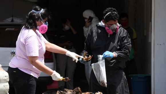 Expertos forenses colocan en una bolsa partes de cuerpos descompuestos encontrados dentro de un contenedor que llegó a Paraguay proveniente de Serbia. (Foto de Daniel DUARTE / AFP).