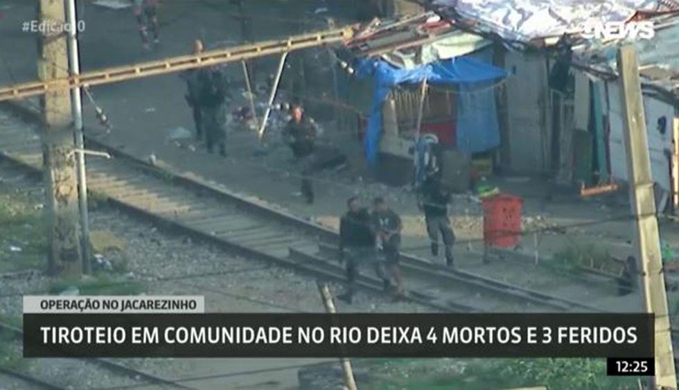 La intervención policial en favela de Río de Janeiro captado desde un helicóptero por la cadena Globo. (Foto: Captura)
