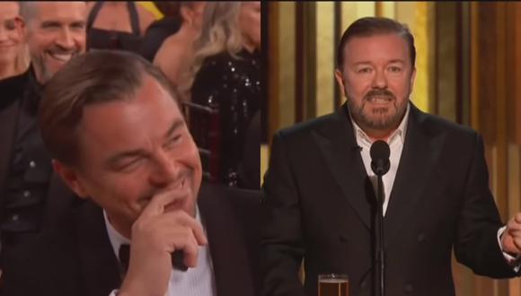 Globos de oro. Leonardo DiCaprio al momento de escuchar la broma que hizo Ricky Gervais sobre él. Foto: NBC.