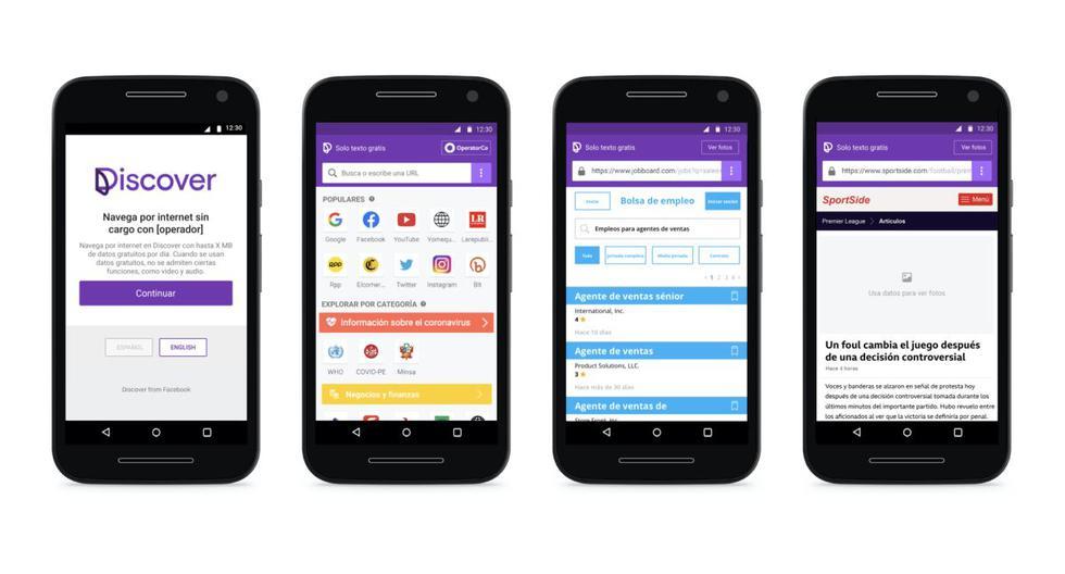 A través de Discover, los usuarios de las cuatro operadoras móviles locales podrán seguir navegando por la web, aunque en modo texto, cuando se queden sin datos. (Facebook)