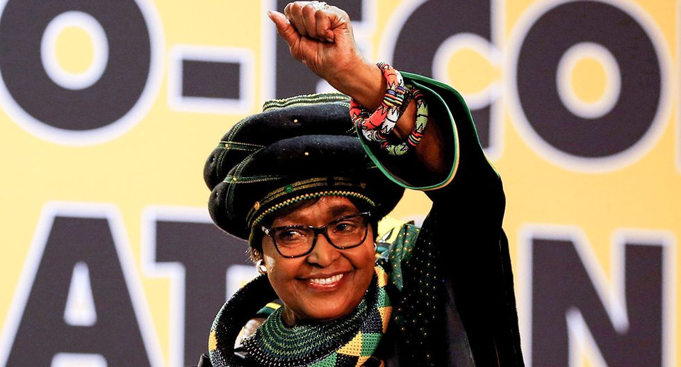 FILE PHOTO: Winnie Madikizela Mandela, ex-wife of former South African president Nelson Mandela, gestures to supporters at the 54th National Conference of the ruling African National Congress (ANC) at the Nasrec Expo Centre in Johannesburg, South Africa December 16, 2017. REUTERS/Siphiwe Sibeko/File Photo