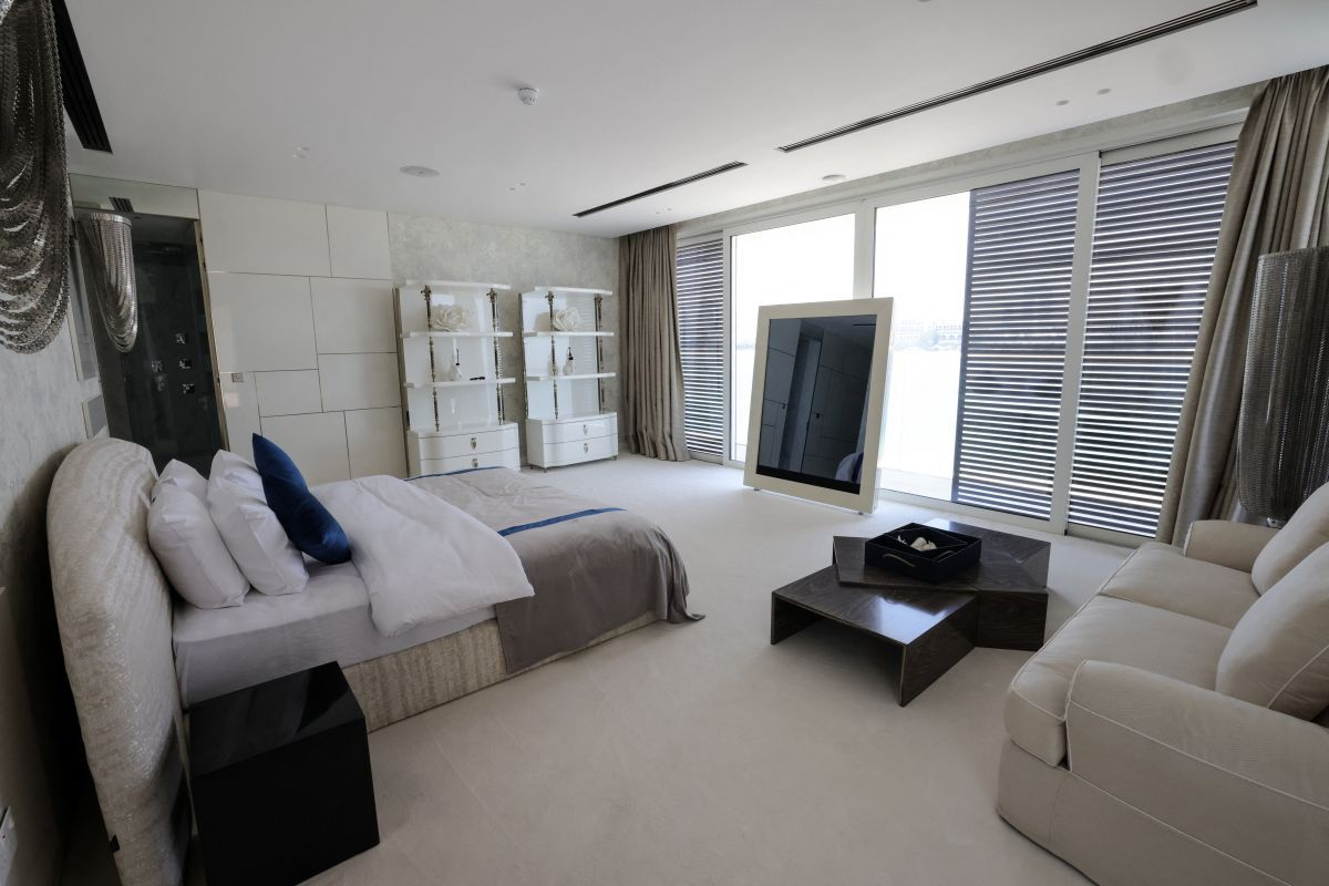One of the bedrooms of a luxury villa for sale on one of the artificial islands of the Palm Jumeirah.