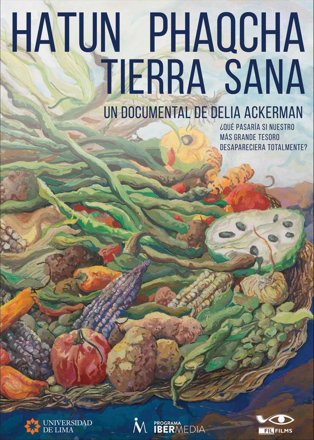 "Afiche del documental ""Hatun Phaqcha: Tierra Sana"", obra del pintor Salvador Velarde."