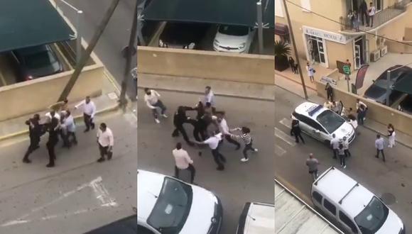 Un video viral exhibió la brutal agresión de la que fueron víctimas dos policías que acudieron a poner orden en una fiesta ilegal en España.   Crédito: Mallorcadiario / YouTube