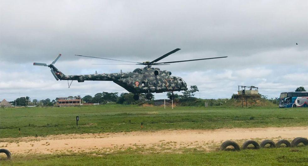 Helicóptero de las Fuerzas Armas trasladó material electoral en Madre de Dios. (Foto: Manuel Calloquispe Flores)