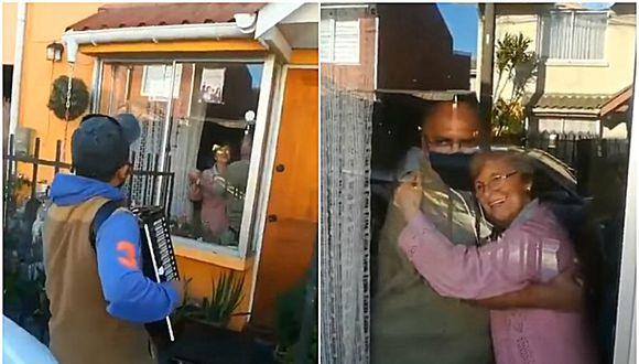 Todos los días, Gonzalo Acuña llega hasta la casa de sus padres con su acordeón para entretenerlos durante lo que dura la cuarentena. La pareja agradece el gesto bailando y poniendo una gran sonrisa en sus rostros. (Fotos: Captura)