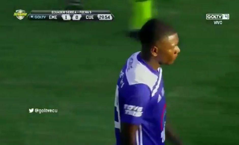 Brayan Angulo abrió el marcador para Emelec con una buena definición   Foto: captura