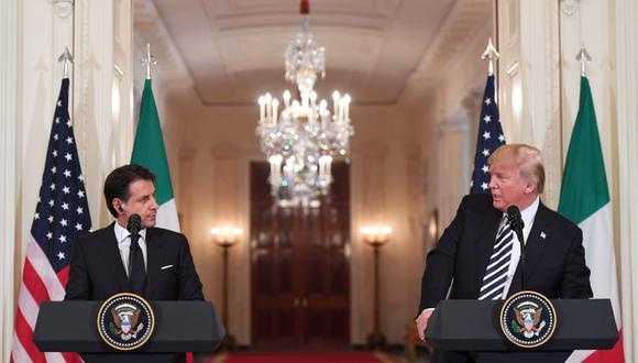 Donald Trump y el primer ministro italiano Giuseppe Conte consolidan frente unido populista. (Foto: AFP/Saul Loeb)
