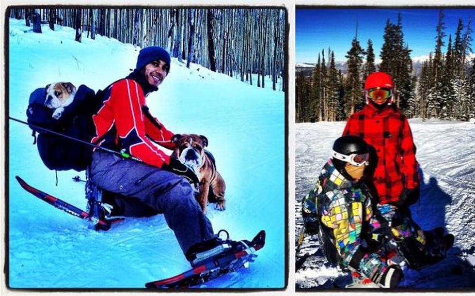 Hamilton publicó fotos en esquí y fue criticado por fans de Schumacher - 1