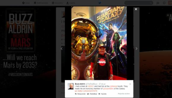 """Buzz Aldrin es miembro honorario de """"Guardianes de la Galaxia"""""""