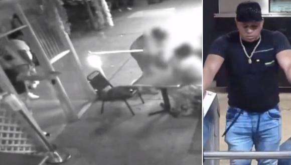 Imagen del ataque a tres personas en un club nocturno en Nueva York, Estados Unidos. (Captura video/Twitter).
