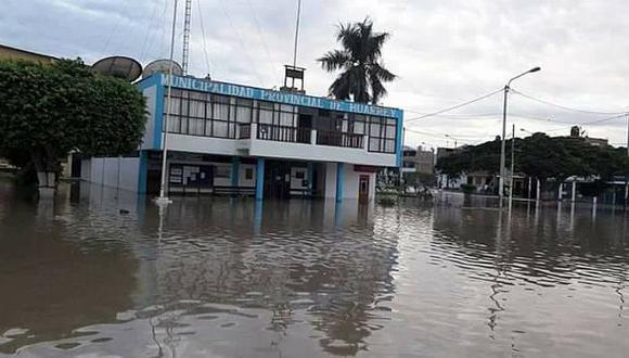 El municipio también ha resultado afectado (Foto: Facebook Chimbote Perú Noticiero al día)