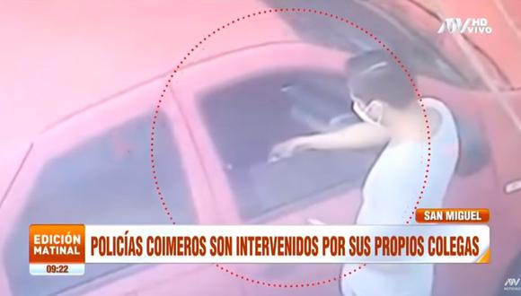 Los policías se encontraban en el interior de un vehículo, a la altura de la cuadra 12 de la avenida Costanera, cuando recibieron 200 soles de Jorge Vargas para presuntamente ayudarlo en su caso. (Foto: captura de video ATV)