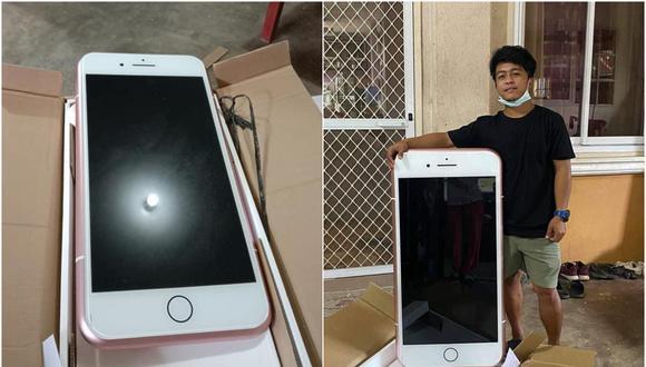 """Compró un iPhone por internet y le llegó una mesa: """"por eso el envío era tan caro"""". (Foto: เอาไปแบ่งกันดู / Facebook)"""