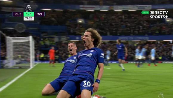 Chelsea vs. Manchester City: David Luiz marcó el 2-0 con este gran cabezazo. (Foto: captura)