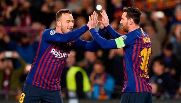 Arthur y sus piropos a Gerard Piqué y Lionel Messi. (Foto: AFP)