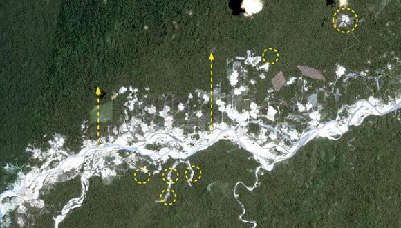 Proyecto MAAP alerta de tres focos de minería ilegal en la Amazonía sur. Imagen corresponde a Alto Malinowsky, octubre 2019. (Fuente: Planet. Análisis de MAAP/ACCA).